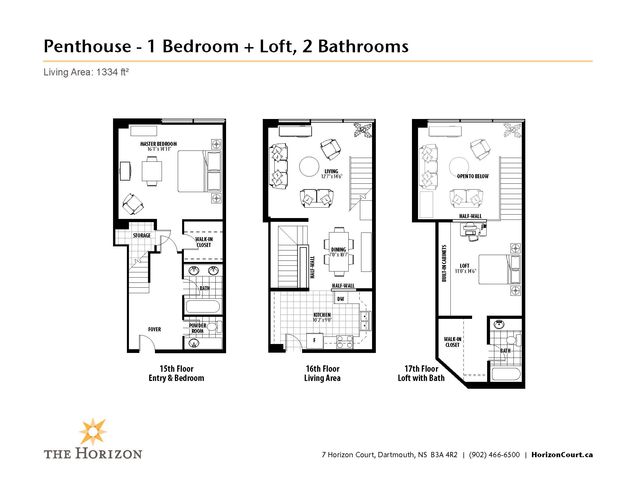 The horizon penthouse suites horizon court for One bedroom loft floor plans